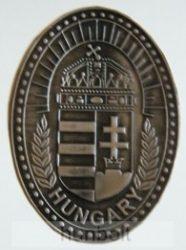 Koszorús címeres ovális ón hűtőmágnes 10X7 cm