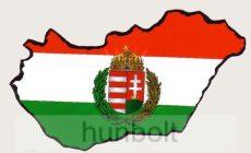Öntapadó autós papír matrica, koszorús címeres Magyarországos 14x8,5 cm