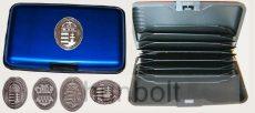 Bankkártya tartó metál kék színű ón Nagy-Magyarország matricával