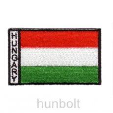 4 szögletes felvasalható hímzett piros-fehér-zöld matrica, Hungary felirattal  8x4,5 cm