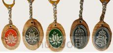 Ón matricás ovális fa kulcstartó ón címer matricával