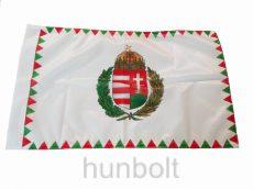 Kétoldalas farkasfogas koszorús címeres  zászló  rúd nélkül