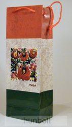Piros-fehér-zöld antikolt matyó italos dísztasak 124x76x362, ajándék tasak