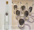 Ón címeres hosszú pálinkás üveg,  6db ón címeres pálinkás pohárral