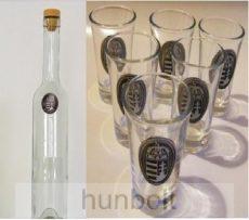 Ón Erdély matrica hosszú pálinkás üveg,  6db ón Erdély matrica pálinkás pohárral
