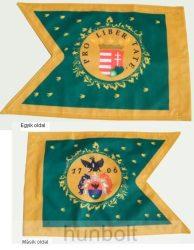 Kétoldalas Rákóczi zászló másolata selyem anyagból 30x40 cm-es