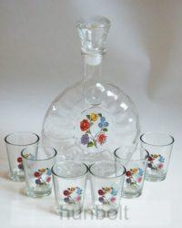 Kalocsai mintás üvegkulacs (margaréta) 6 darab pálinkás pohárral