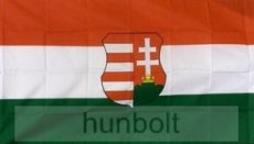 Nemzeti színű Kossuth címeres nyomott mintás, műszálas zászló 90X150 cm
