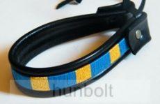 Bőr karkötő Erdély kék-aranysárga