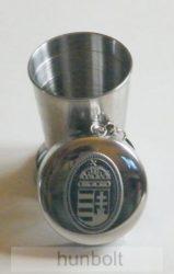 Kihúzható fém pohár különböző ón címkével (kulcstartó), 0,5 dl