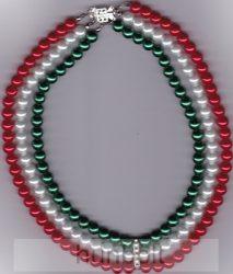 3 soros nemzeti színű gyöngysor