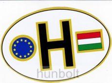 Öntapadó külső matrica, ovális EUS -H betűs, zászlós  (12X8 cm)