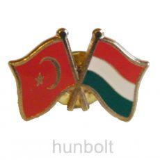 Kitűző, páros zászló Török-Magyar jelvény 26x15 mm