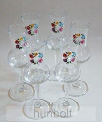 Színes kalocsai mintás talpas pálinkás pohár különböző kiszerelésben (tulipános, grappás pohár) 70 ml