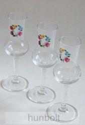 Színes kalocsai mintás talpas pálinkás pohár 3db (tulipános, grappás pohár) 70 ml