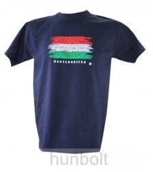 Magyarország feliratos, zászlós póló sötétkék