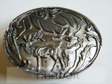 Ovális ezüst szarvas és szarvasfej, ezüst háttérrel övcsat