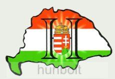 Nagy-Magyarország nemzeti színű világos H címeres hűtőmágnes  8x5 cm
