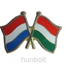 Kitűző, páros zászló Luxemburg-Magyar jelvény 26x15 mm