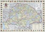 A Magyar Szent Korona országai 1914 (1:360 000) 125x90 cm Ívben, fóliázva lécezve