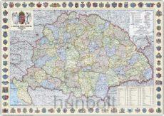 A Magyar Szent Korona országai 1914 (1:360 000) 125x90 cm keretezve, kasírozva