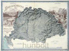Magyarország hegyrajzi és vízrajzi térképe (Pokorny Tódor 1898) ívben 66x49 cm reprint