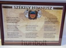 Asztalra tehető és falra akasztható üveglapos fakeretes Székely Himnusz 21X30 cm