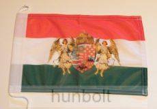 Nemzeti színű angyalos címeres megkötős hajós zászló  (20X30 cm)