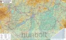 Magyarország autóstérképe 100x70 cm keretezve, kasírozva
