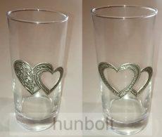 Üdítős/vizes/sörös pohár, szív alakú ón matricával 1db/2,5dl