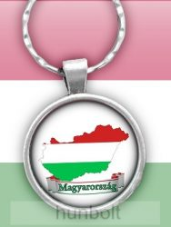 Magyarország térkép, felírattal, kerek, üveglencsés kulcstartó