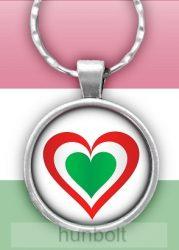 Nemzeti szív üveglencsés kulcstartó