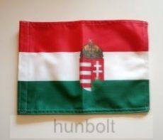 Nemzeti színű 2 oldalas címeres hajós zászló (20X30 cm)