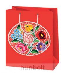 Kalocsai terítős piros lakk dísztasak  (ajándék tasak)