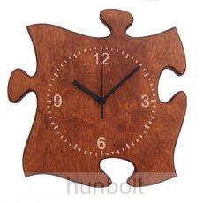 Puzzle alakú fa falióra, dió színben