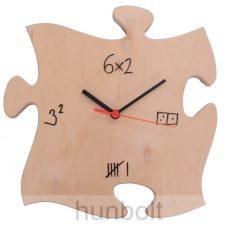 Puzzle alakú fa falióra, írható, törölhető számlappal