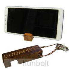 Fa kulcstartó és mobiltartó  Budapest felirattal