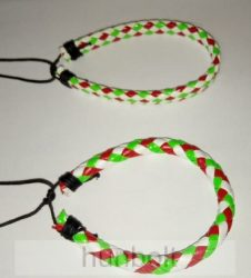 Műbőr fonott fehér piros-fehér-zöld kockás karkötő