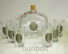 Üveghordó pohárszettel