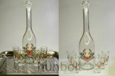 Kalocsai virágmintás üveg 6 pálinkás pohárral - szett