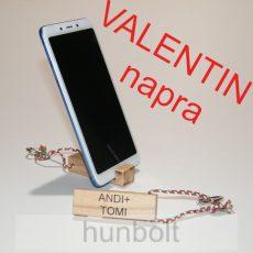 Valentin napra 2db fa kulcstartó és mobiltartó egyben, egyedi feirattal