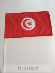 Tunézia zászló 15x25cm, 40cm-es műanyag rúddal