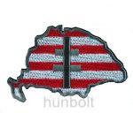 Felvarrható hímzett Nagy-Magyarország árpádsávos matrica  10 x 7 cm