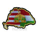 Felvarrható hímzett Nagy-Magyarország osztott- koronás matrica  10 x 7 cm