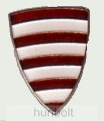 Árpádsávos pajzs jelvény fehér csíkkal (16x21 mm)
