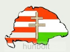 Árpádsávos osztott kettőskeresztes hűtőmágnes Nagy-Magyarország körvonallal