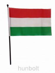 Nemzeti színű zászló 15x23 cm, 30 cm-es fekete műanyag pálcával