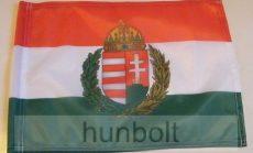 Nemzeti színű koszorús címeres zászló 15x25 cm, 40 cm-es műanyag rúddal